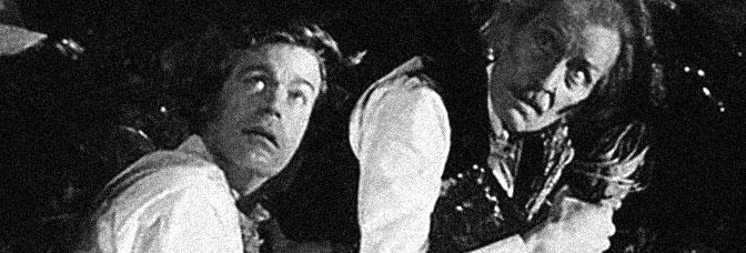 Doug McClure and Peter Cushing are bewildered Victorians in AT THE EARTH'S CORE, directed by Kevin Connor for American International Pictures.