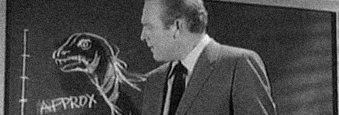 Gene Evans regards the monster in BEHEMOTH THE SEA MONSTER, directed by Eugène Lourié for Eros Films Ltd.