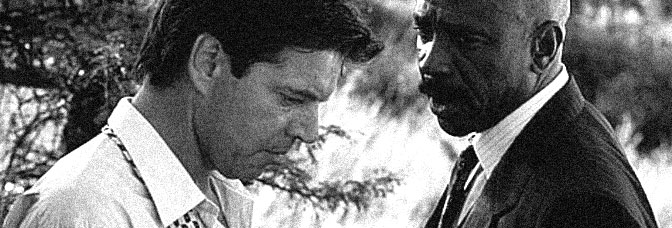 Colin Friels and Louis Gossett Jr. star in A GOOD MAN IN AFRICA, directed by Bruce Beresford for Gramercy Pictures.
