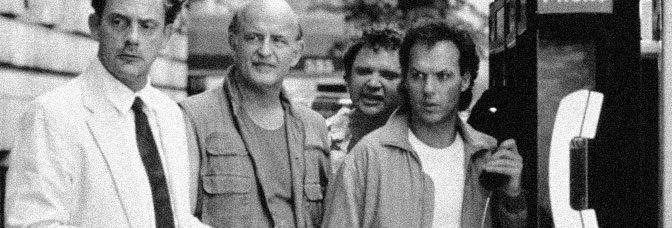 Christopher Lloyd, Peter Boyle, Stephen Furst, and Michael Keaton star in THE DREAM TEAM, directed by Howard Zieff for Universal Pictures.