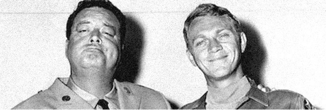 Jackie Gleason and Steve McQueen star in SOLDIER IN THE RAIN, directed by Ralph Nelson for 20th Century Fox.