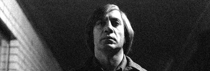 Javier Bardem is Anton Chigurh in NO COUNTRY FOR OLD MEN, directed by Joel and Ethan Coen for Miramax Films.