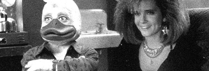 Ed Gale and Lea Thompson star in HOWARD THE DUCK, directed by Willard Huyck for Universal Pictures.