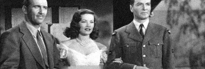 Preston Foster, Gene Tierney, and John Sutton star in THUNDER BIRDS, directed by William A. Wellman for 20th Century Fox.
