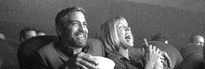 At the movies with George Clooney and Frances McDormand in BURN AFTER READING, directed by Joel and Ethan Coen for Focus Features.
