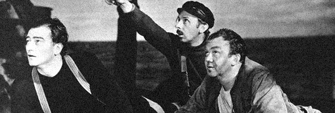 John Wayne, John Qualen, and Thomas Mitchell star in THE LONG VOYAGE HOME, directed by John Ford for United Artists.