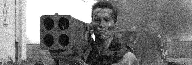 Matrix! Arnold Schwarzenegger stars in COMMANDO, directed by Mark L. Lester for 20th Century Fox.