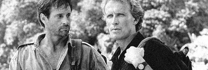 Robert Hays and Peter Weller star in FIFTY/FIFTY, directed by Charles Martin Smith for Cannon Films.
