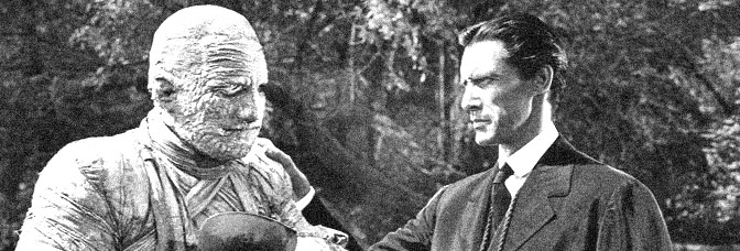 Lon Chaney Jr. and John Carradine star in THE MUMMY'S GHOST, directed by Reginald Le Borg for Universal Pictures.