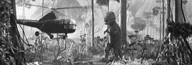 A scene from THE LAND UNKNOWN, directed by Virgil W. Vogel for Universal Pictures.