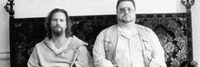 Jeff Bridges and John Goodman star in THE BIG LEBOWSKI, directed by Joel Coen for Gramercy Pictures.