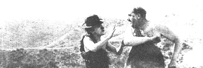 Charles Chaplin and Mack Swain star in HIS PREHISTORIC PAST, directed by Charles Chaplin for Mutual Film.