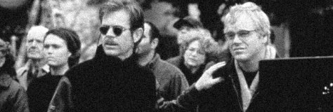 William H. Macy and Philip Seymour Hoffman star in STATE AND MAIN, directed by David Mamet for Fine Line Features.
