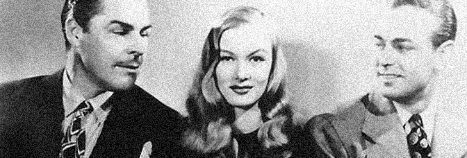 Veronica Lake gets in between Brian Donlevy and Alan Ladd in THE GLASS KEY, directed by Stuart Heisler for Paramount Pictures.