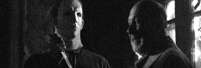 Donald Pleasence stars with a man in a bad mask in HALLOWEEN 5, directed by Dominique Othenin-Girard for Galaxy International Releasing.