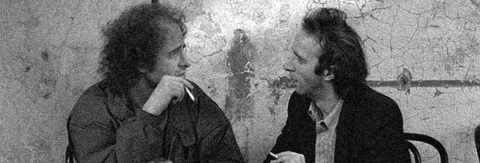 Steven Wright and Robert Benigni star in COFFEE AND CIGARETTES, directed by Jim Jarmusch.