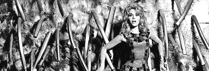 Jane Fonda is a space age adventuress whose sex-ploits are among the most bizarre ever seen in BARBARELLA, directed by Roger Vadim for Paramount Pictures.