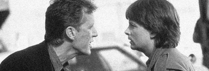 James Woods and Michael J. Fox star in THE HARD WAY, directed by John Badham for Universal Pictures.