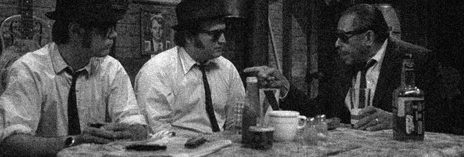 Dan Aykroyd and John Belushi inadvertently trash the legacy of Cab Calloway in THE BLUES BROTHERS, directed by John Landis for Universal Pictures.