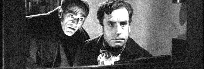 Boris Karloff and Henry Daniell star in THE BODY SNATCHER, directed by Robert Wise for RKO Radio Pictures.