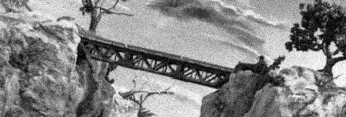 A shot from HOW TO BRIDGE A GORGE, directed by Ray Harryhausen.