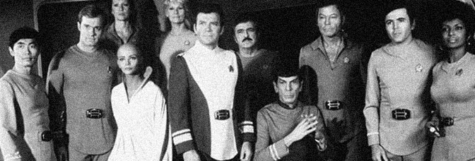 George Takei, Stephen Collins, Majel Barrett, Persis Khambatta, Grace Lee Whitney, William Shatner, James Doohan, Leonard Nimoy, DeForest Kelley, Walter Koenig, and Nichelle Nichols boldly go in STAR TREK: THE MOTION PICTURE, directed by Robert Wise for Paramount Pictures.