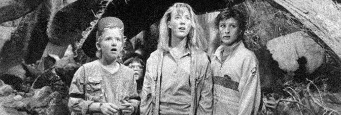 Jared Rushton, Robert Oliveri, Amy O'Neill and Thomas Wilson Brown get small in HONEY, I SHRUNK THE KIDS, directed by Joe Johnston for Walt Disney Pictures.