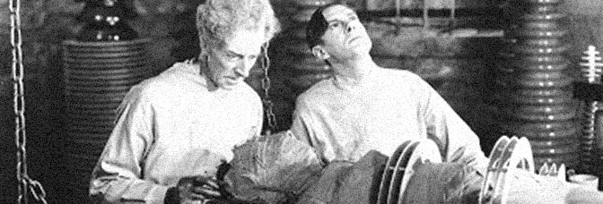 Ernest Thesiger and Colin Clive star in THE BRIDE OF FRANKENSTEIN, directed by James Whale for Universal Pictures.