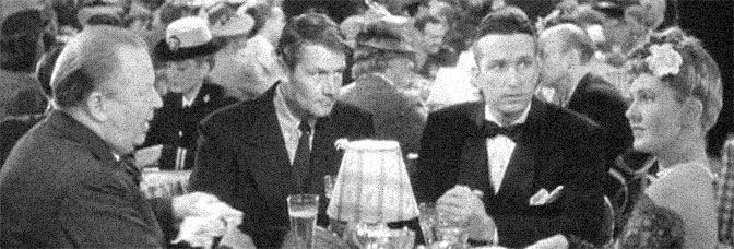 Charles Coburn, Joel McCrea, Richard Gaines, and Jean Arthur star in THE MORE THE MERRIER, directed by George Stevens for Columbia Pictures.