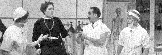 Margaret Dumont and the Marx Brothers star in A DAY AT THE RACES, directed by Sam Wood for Metro-Goldwyn-Mayer.