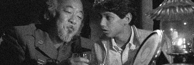 Pat Morita and Ralph Macchio star in THE KARATE KID, directed by John G. Avildsen for Columbia Pictures.