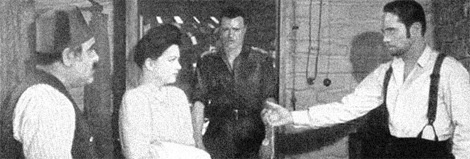 Akim Tamiroff, Anne Baxter, Peter van Eyck and Franchot Tone star in FIVE GRAVES TO CAIRO, directed by Billy Wilder for Paramount Pictures.