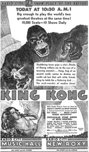 King Kong, as advertised in The New York Times (March 2, 1933).