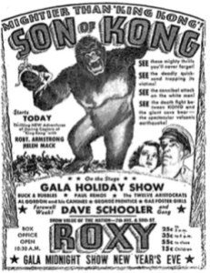 SON OF KONG, as advertised in The New York Times (December 29, 1933).