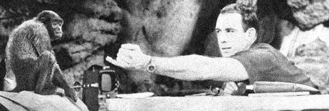 Harvey, the Woolly Monkey, and Paul Mantee star in ROBINSON CRUSOE ON MARS, directed by Byron Haskin for Paramount Pictures.
