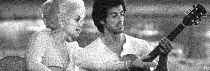 Dolly Parton and Sylvester Stallone star in RHINESTONE, directed by Bob Clark for 20th Century Fox.
