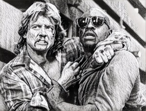 Roddy Piper and Keith David hug it out violently in THEY LIVE.